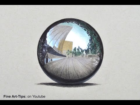 Drawing a Chrome Sphere - Time Lapse