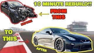 Rebuilding a WRECKED Salvage 2017 Nissan GTR in 10 Munutes! like THROTL