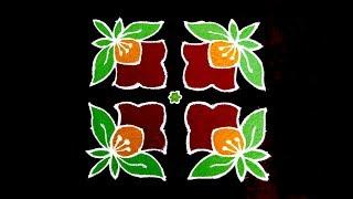 Daily Rangoli Designs For Beginners |  8x8 Dots Flower Rangoli | Simple & Small Flower Rangoli