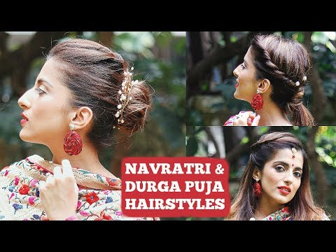 QUICK Hairstyles For Navratri & Durga Puja / India Hairstyles For Short To Medium Hair