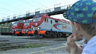Bought tickets for the train and watching Trains, Trains and Locomotives Video about trains for kids