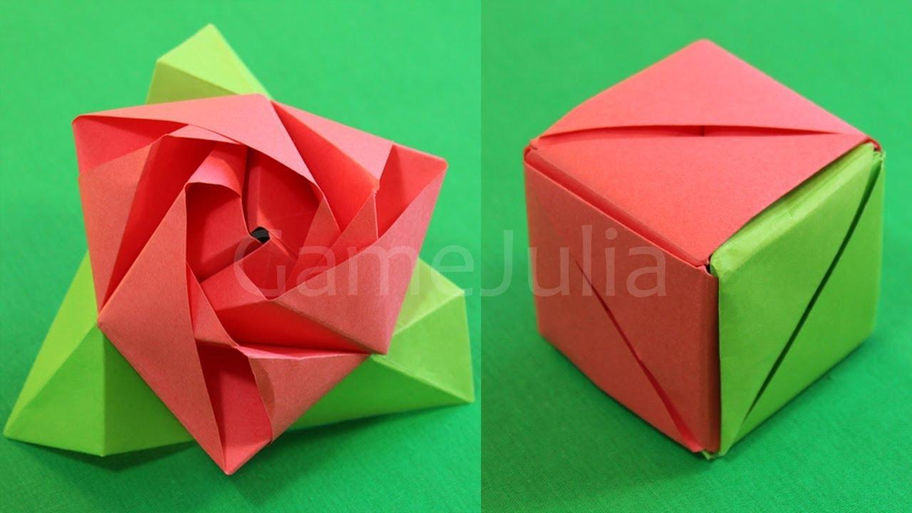 Оригами роза из бумаги куб