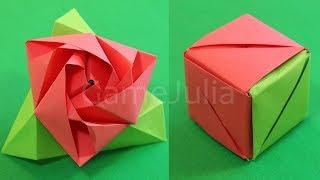 Волшебная оригами роза куб(Вне всякого сомнения, оригами роза куб - одна из лучших модульных оригами поделок для начинающих. Красота..., 2014-11-22T18:27:46.000Z)