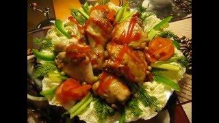 оформление тарелки с жареной курицей
