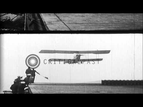 Aeromarine 39-B airplane crashes while landing on USS Langley. Douglas DT-2 seapl...HD Stock Footage
