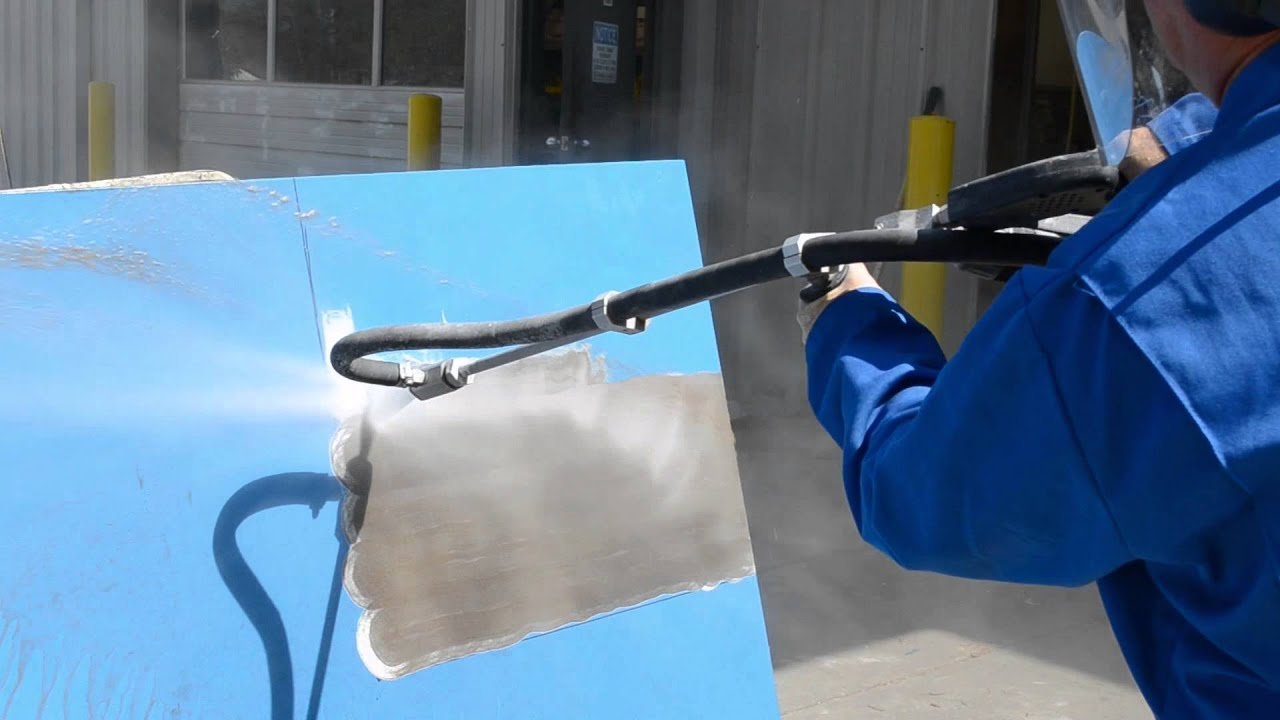 AQUAMISER Water-only and Wet Abrasive Blasting on Steel Plate