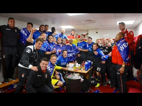 Changing-room cam | AFC Bournemouth squad celebrate winning the Sky Bet Championship