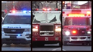 Fire trucks, police cars & ambulances responding - BEST OF JANUARY 2018 - Siren, horn & action