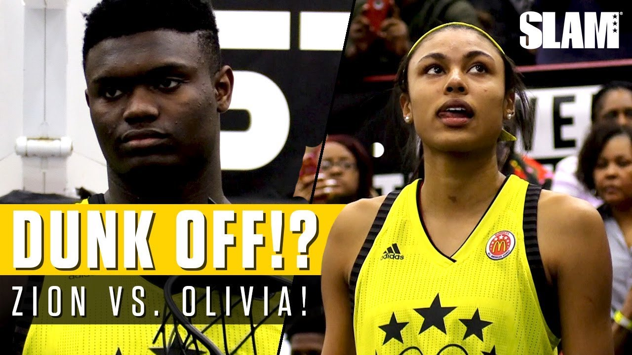 Zion Williamson Battles Olivia Nelson-Ododa for Dunk Contest at McDonald s  All American Game! 4663df1ca