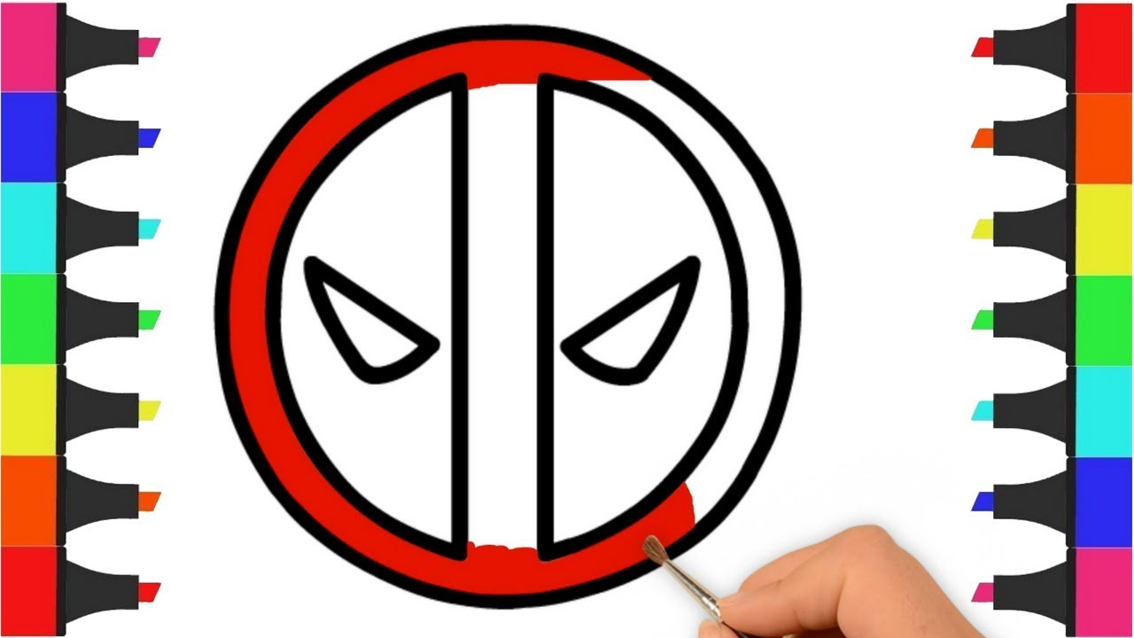 Deadpool Logo Coloring Pages For Kids How To Draw Deadpool Logo