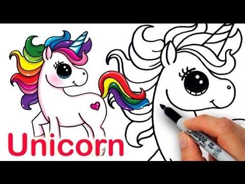 How to Draw a Cartoon Unicorn ing Easy and Cute - YouTube