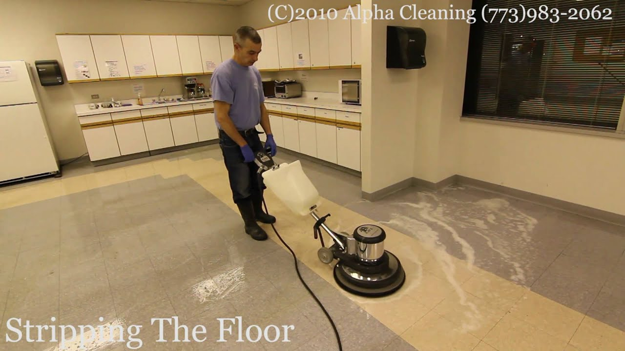 Floor stripping buffing and waxing Chicago  YouTube