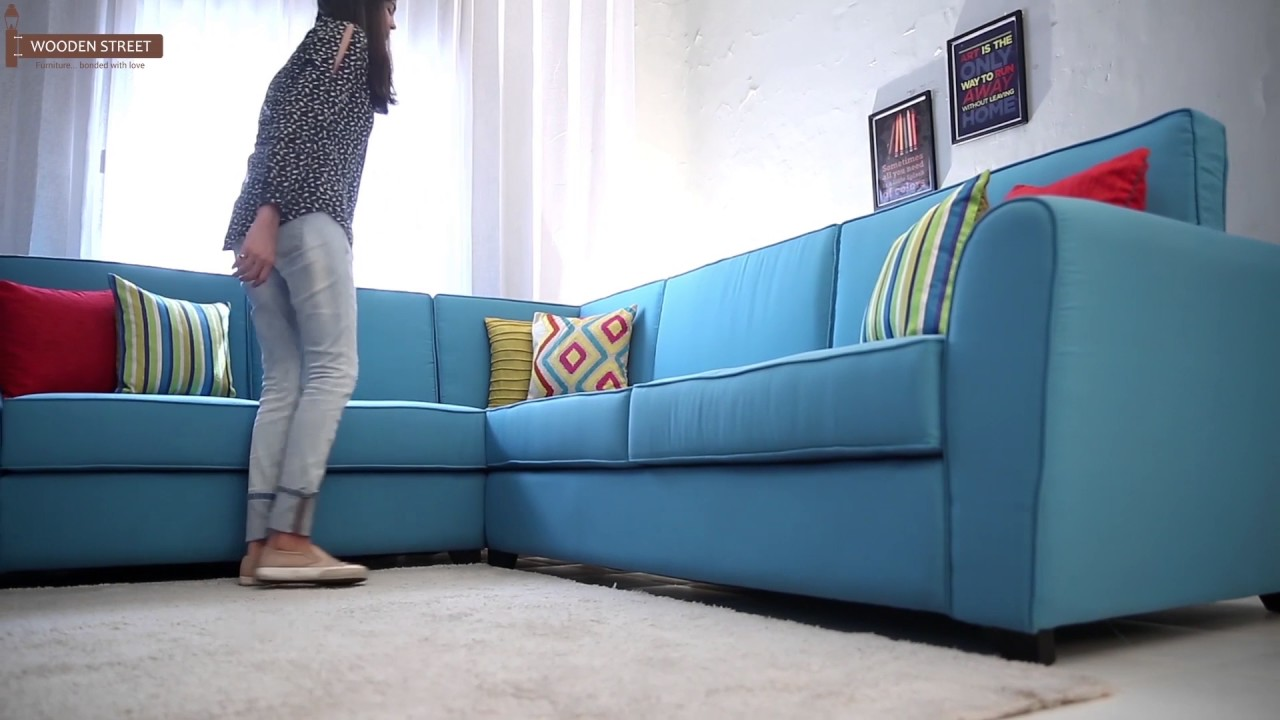 L Shape Fabric Sofa - Buy Lucian L Shape Fabric Sofa in Aqua Marine ...
