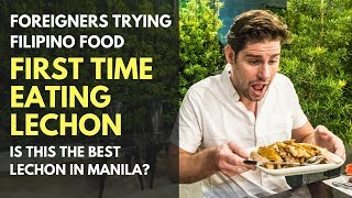 TRYING LECHON FOR THE FIRST TIME - UNEXPECTED REACTION - FOREIGNERS TRYING FILIPINO FOOD