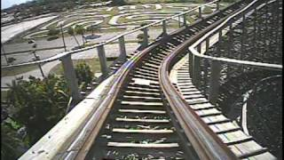 Dania Beach Hurricane Wooden Roller Coaster POV Front Seat Boomers Florida