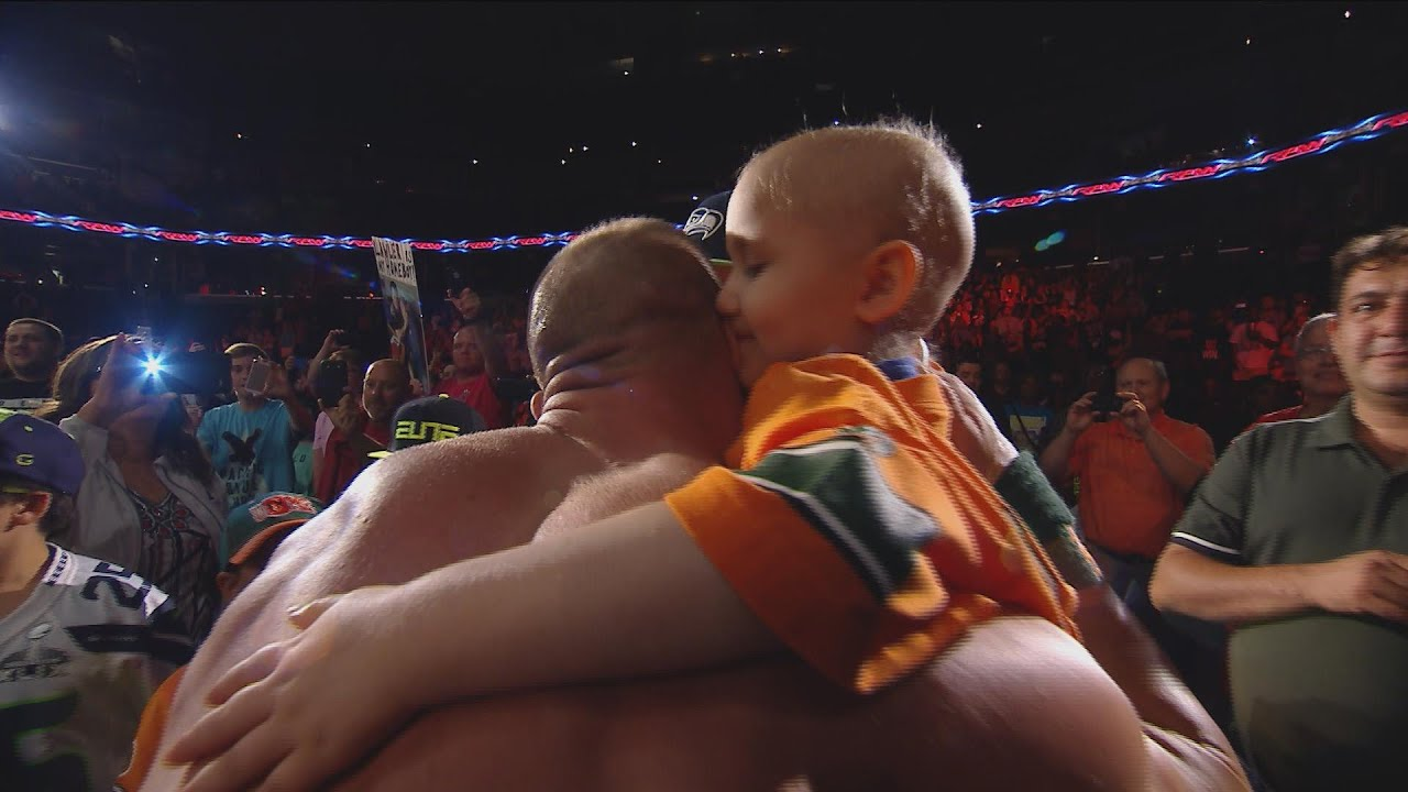 Seven year old cancer survivor kiara grindrod meets john cena and seven year old cancer survivor kiara grindrod meets john cena and sting wwe raw sept 14 2015 youtube m4hsunfo