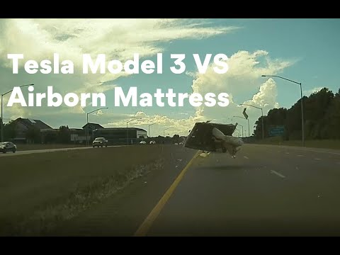 Tesla Model 3 Real-life 'moose test' (surprise mattress at ~80 mph)