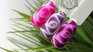 Дизайн по мокрому гель лаку/ Розы по мокрому ❤️ Nails design ❤️ Рисунки на ногтях ❤️ Для начинающих