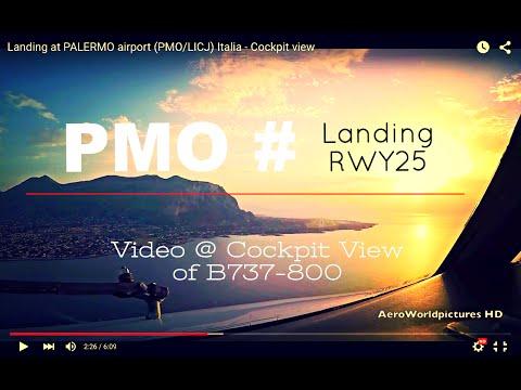 Landing @ PALERMO - airport (PMO/LICJ) Italia # Cockpit view