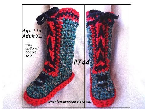 Red Sole Crocheted Slippers Tall Laced Up Boot Style Crochet
