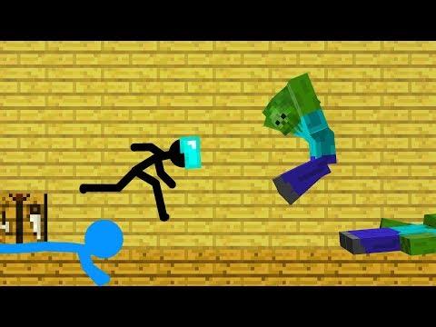 Stickman in Minecraft: Zombie Apocalypse vs School - Minecraft Animation