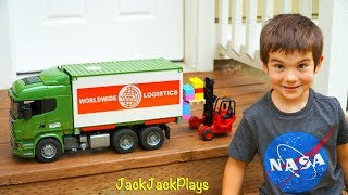 Bruder Trucks Surprise Toy Unboxing: Tractor Trailer + Forklift | Kid Playing