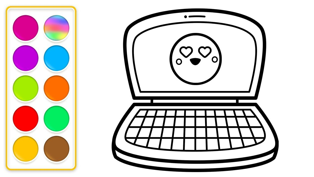 How to Draw an Computer for Kids 💻😍💚 💙 | Computer Coloring ...