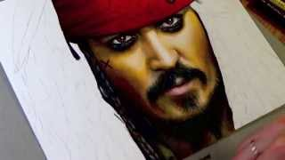 портрет Капитана Джека карандашом и маркером