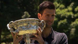 Djokovic celebrates sixth Aussie win