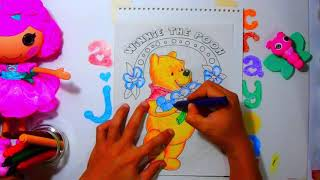 Winnie the Pooh hugs flowers - Coloring for Kids using Crayons