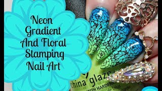 NAIL ART TUTORIAL-Neon Gradient Floral Stamping Design Using Lina Plate