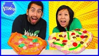 DIY CANDY PIZZA CHALLENGE! Ryan's Mommy Vs Daniel