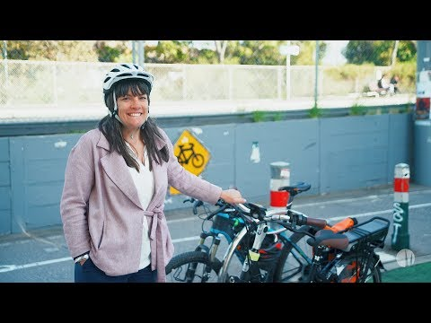 Mayor Natalie Abboud and her E-Bike
