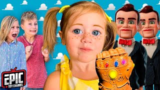 Toy Story 4 Gabby Gabby In Real Life with Benson and Hero Kidz Nerf Battle