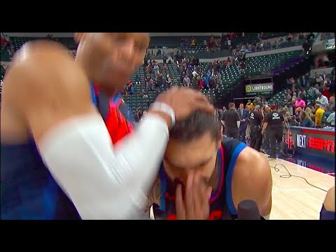 Russell Westbrook RKO's Steven Adams outta nowhere in Postgame Interview vs Pacers
