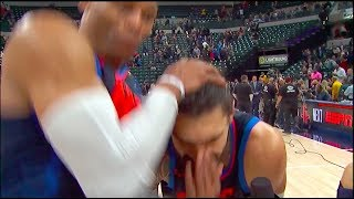 Russell Westbrook RKOs Steven Adams outta nowhere in Postgame Interview vs Pacers