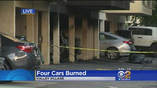 4 Vehicle Burned In Valley Village Carport Fire.
