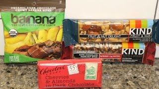 Barnana Organic Banana Bites, Chocolove Cherries & Almonds, KIND Fruit & Nut and Hazelnut Spice
