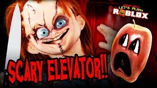 Stuck in the Scary Elevator with CHUCKY!!! #ShocktoberGames (Roblox Midget Apple)