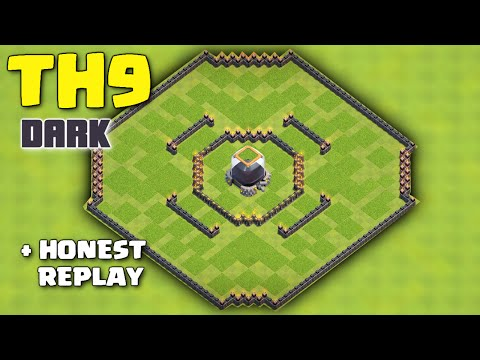 Clash Of Clans - NEW TH 9 FARMING BASE 2016 ♦ Town Hall 9 Dark Elixir Protection/Saving + Replay