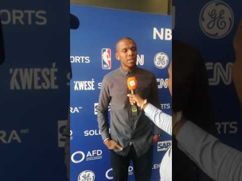 NBA Player James Jones speaks to media in Johannesburg, South Africa