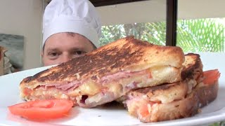 Ham Cheese Tomato Butter And Onion Toasted Sandwich Recipe