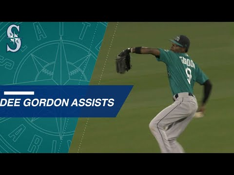 Dee Gordon racks up the assists in center field