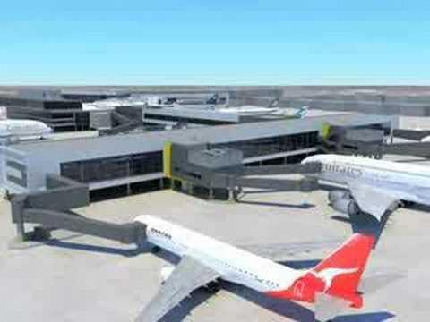 Melbourne airport the new terminal exterior youtube for Terminal exterior 15 kv