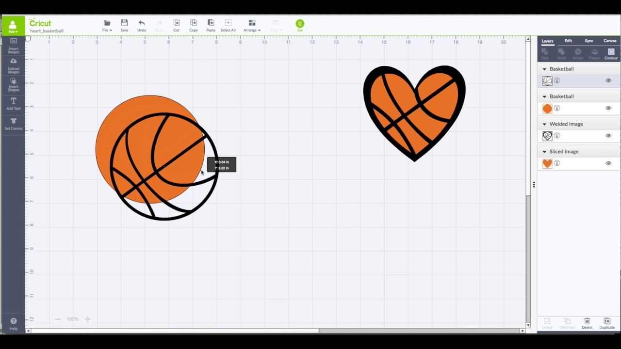 Cricut Design Space How To Slice A Basketball Youtube