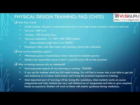 VLSI Training & Physical Design Training Overview[Trainer #2]