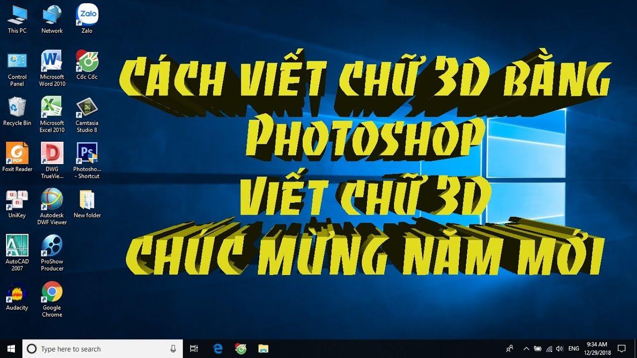 ✅ Cách viết chữ 3D bằng Photoshop | Viết chữ 3D CHÚC MỪNG NĂM MỚI