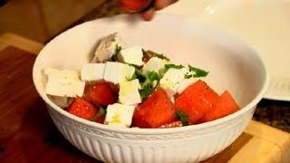 Watermelon Feta Basil Salad : Greek Recipes