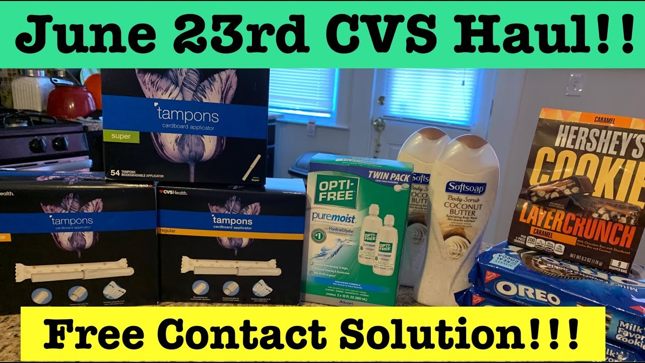 CVS Extreme Couponing Haul | June 23rd Free Contact Solution, $ 98 Tampons,  $ 21 Bodywash & More!!!!