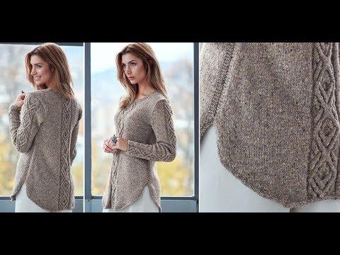 Асимметричный свитер спицами схема
